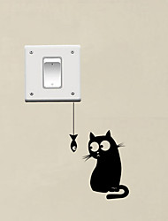 cheap -Hungry Cat See The Fish Funny Switch Stickers Decor Vinyl Wall Decal
