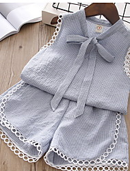 cheap -Kids Girls' Basic Solid Colored Sleeveless Clothing Set Blushing Pink