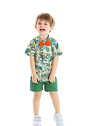 cheap -Kids Boys' Basic Floral Short Sleeve Clothing Set Green