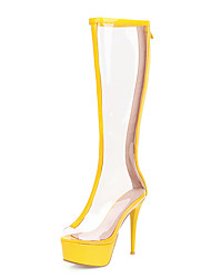 cheap -Women's Boots Transparent Shoes Stiletto Heel Peep Toe PU Knee High Boots Classic Spring & Summer Yellow / Green / Silver / Wedding / Party & Evening / Color Block