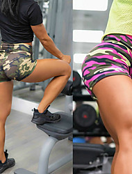 cheap -Women's High Waist Yoga Shorts Camo / Camouflage Camouflage Pink Running Fitness Gym Workout Shorts Sport Activewear Breathable Moisture Wicking Butt Lift Tummy Control High Elasticity Skinny