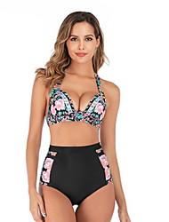 cheap -Women's Plus Size Basic Black White Purple Halter Bikini Swimwear Swimsuit - Geometric Solid Colored Backless S M L Black