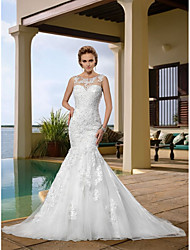 cheap -Mermaid / Trumpet Scoop Neck Court Train Lace Regular Straps Country Wedding Dresses with 2020