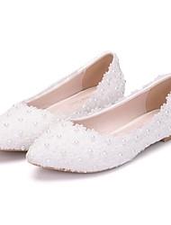 cheap -Women's Wedding Shoes Flat Heel Pointed Toe PU Spring & Summer White / Pink