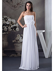 cheap -A-Line Strapless Floor Length Chiffon Elegant Formal Evening Dress with Pleats 2020