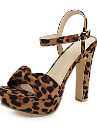 cheap -Women's Sandals Print Shoes Chunky Heel Open Toe Buckle Suede Classic Spring & Summer Dark Brown / Blue / White / Party & Evening / Leopard / Party & Evening