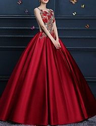 cheap -Ball Gown Floral Red Engagement Formal Evening Dress Jewel Neck Sleeveless Floor Length Polyester with Appliques 2020