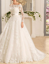cheap -A-Line Off Shoulder Court Train Tulle Long Sleeve Romantic See-Through / Backless / Illusion Sleeve Wedding Dresses with Appliques 2020