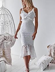 Недорогие -Жен. Оболочка Платье - Без рукавов Однотонный На бретелях Тонкие Белый S M L XL