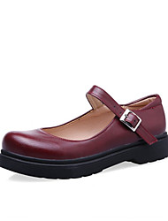 cheap -Women's Flats Flat Heel Round Toe PU Spring &  Fall Black / Brown / Burgundy