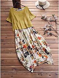 cheap -Female Yellow Green Dress Swing Printing M L / Cotton