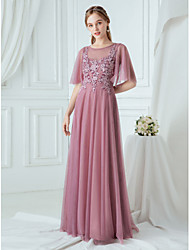 cheap -A-Line Jewel Neck Floor Length Tulle Bridesmaid Dress with Appliques