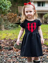 cheap -Toddler Girls' Striped Long Sleeve Above Knee Dress Black
