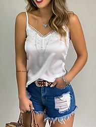 cheap -Women's Solid Colored Rivet Blouse Basic Daily V Neck White
