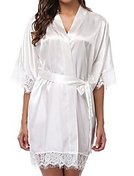 cheap -Women's Lace Robes Nightwear Solid Colored Black White Purple S M L