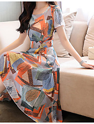 cheap -Women's Swing Dress Light Blue Short Sleeve Color Block Round Neck Strap M L XL XXL 3XL