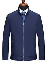 cheap -Men's Daily Fall & Winter Regular Jacket, Solid Colored Stand Long Sleeve Polyester Black / Blue / Gray