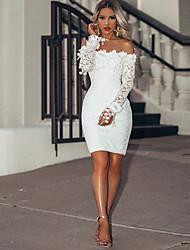 cheap -Women's Elegant Slim Sheath Dress - Solid Colored Off Shoulder White S M L XL