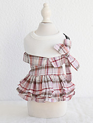 cheap -Dog Costume Dress Dog Clothes Breathable Red Pink Costume Beagle Bichon Frise Chihuahua Cotton Plaid / Check Quotes & Sayings Bowknot Casual / Sporty Cute XS S M L XL