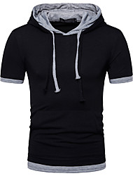 cheap -Men's Solid Colored Slim T-shirt Basic Daily Hooded Black / Green / Gray / Short Sleeve