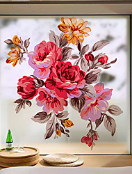 cheap -Flowers Pattern Matte Window Film Vinyl Removable Private Home Decor / Door Sticker / Window Sticker