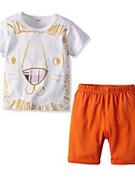 cheap -Kids Boys' Basic Christmas Home Print Cartoon Print Long Sleeve Regular Regular Clothing Set White