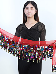 cheap -Women's Dancer Belly Dance Masquerade Waist Belt Oriental Sequins Chiffon Sequin Black White Purple Waist Accessory