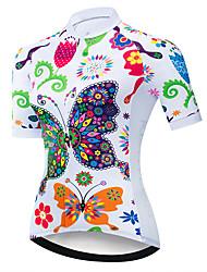 Недорогие -21Grams Жен. С короткими рукавами Велокофты Красный / Белый Бабочка Цветочные ботанический Велоспорт Джерси Верхняя часть Горные велосипеды Шоссейные велосипеды / Эластичная / Быстровысыхающий