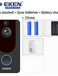 cheap -EKEN V7 HD 1080P Smart WiFi Video Doorbell with 2*18650 Battery 1*Chime 1*18650 Battery Charger