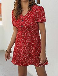 cheap -Women's / Ladies Date Street Trendy Lantern Sleeve Swing Dress - Floral Printing Daisy, Printing Red S M L