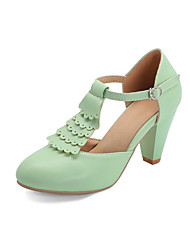 cheap -Women's Heels Chunky Heel Round Toe PU Spring &  Fall Black / Light Green / Beige