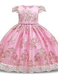 cheap -Kids Toddler Girls' Flower Sweet Floral Beaded Embroidered Short Sleeve Knee-length Dress Blushing Pink