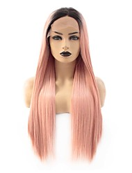 cheap -Synthetic Lace Front Wig Straight Ciara Middle Part Lace Front Wig Long Black / Rose Synthetic Hair 22-26 inch Women's Heat Resistant Women Hot Sale Rose Pink Ombre / Glueless