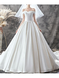 cheap -A-Line Wedding Dresses Off Shoulder Sweep / Brush Train Satin Sleeveless Casual Plus Size with Lace Insert 2020