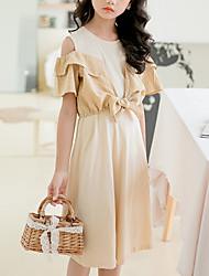 cheap -Kids Girls' Cute Street chic Plaid Bow Patchwork Short Sleeve Knee-length Dress Yellow