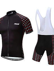 cheap -21Grams Men's Short Sleeve Cycling Jersey with Bib Shorts Polyester Black / White Polka Dot Geometic Bike Clothing Suit UV Resistant Breathable 3D Pad Quick Dry Sweat-wicking Sports Polka Dot