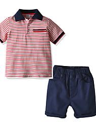 cheap -Baby Boys' Casual / Basic Striped Short Sleeve Short Short Clothing Set Red