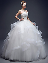 cheap -Ball Gown Wedding Dresses Strapless Floor Length Lace Tulle Strapless Sexy Red with Lace Appliques 2020