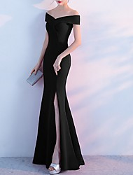 cheap -Mermaid / Trumpet Elegant Holiday Formal Evening Dress Off Shoulder Short Sleeve Floor Length Polyester with Split 2020