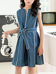 cheap -Kids Girls' Vintage Cute Blue & White Solid Colored Patchwork Sleeveless Knee-length Dress Blue