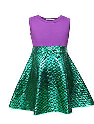 cheap -Kids Toddler Girls' Sweet Cute Color Block Cartoon Bow Sleeveless Above Knee Dress Purple
