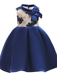 cheap -Ball Gown Knee Length Flower Girl Dress - Polyester Sleeveless Jewel Neck with Appliques / Bow(s)