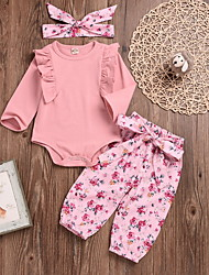 cheap -Baby Girls' Street chic Solid Colored Long Sleeve Regular Clothing Set Blushing Pink / Toddler