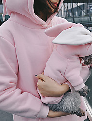 cheap -Dog Cat Costume Hoodie Matching Outfits Solid Colored Rabbit Simple Style Casual / Sporty Sports Casual / Daily Winter Dog Clothes Warm Pink Costume Fleece Women S Women M Women L Women XL S M