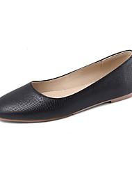 cheap -Women's Flats Flat Heel Round Toe PU Casual Spring & Summer Black / Wine / Almond
