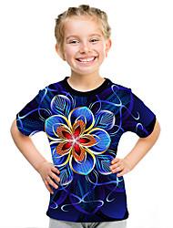 Недорогие -Дети Девочки Активный Уличный стиль Цветочный принт 3D С принтом С короткими рукавами Футболка Лиловый