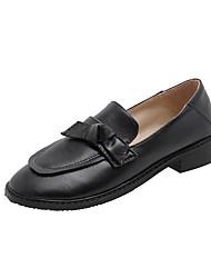 cheap -Women's Flats Chunky Heel Round Toe Bowknot PU Casual / Preppy Spring &  Fall Black / Almond