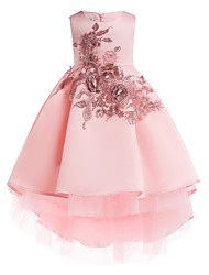 cheap -Ball Gown Ankle Length Pageant Flower Girl Dresses - Polyester Sleeveless Jewel Neck with Appliques