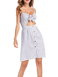 cheap -Women's / Ladies Date Street Trendy Sleeveless A Line Dress - Stripes Stripe White S M L XL
