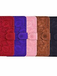 Недорогие -чехол для samsung galaxy s9 / s9 plus / s8 plus кошелек / держатель для карт / рельефный чехол для всего тела сплошной цвет / цветочная кожа pu для galaxy s8 / s10 / s10e / s10 plus / note 10 / note